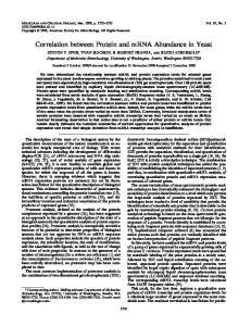 Correlation between Protein and mrna Abundance in Yeast