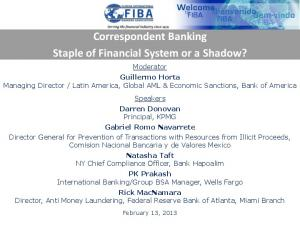 Correspondent Banking Staple of Financial System or a Shadow?