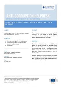 CORRUPTION AND ANTI-CORRUPTION IN THE COOK ISLANDS