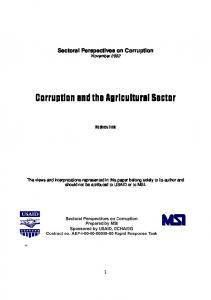 Corruption and the Agricultural Sector