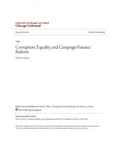 Corruption, Equality, and Campaign Finance Reform