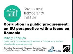 Corruption in public procurement: an EU perspective with a focus on Romania