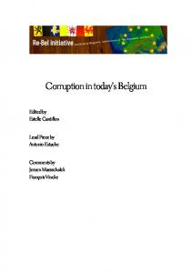 Corruption in today s Belgium