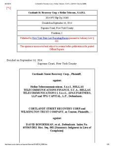 Cortlandt St. Recovery Corp. v Hellas Telecom., S.A.R.L NY Slip Op Supreme Court, New York County. Friedman, J