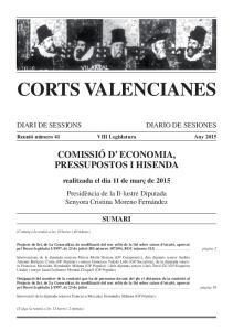 CORTS VALENCIANES COMISSIÓ D ECONOMIA, PRESSUPOSTOS I HISENDA
