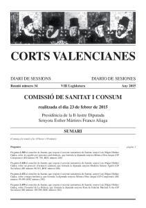 CORTS VALENCIANES COMISSIÓ DE SANITAT I CONSUM