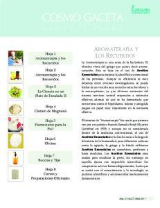 COSMO GACETA GACETA. Aromaterapia y Los Recuerdos. Aromaterapia y los Recuerdos. Hoja 2 Aromaterapia y los Recuerdos