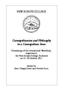 Cosmopolitanism and Philosophy in a Cosmopolitan Sense