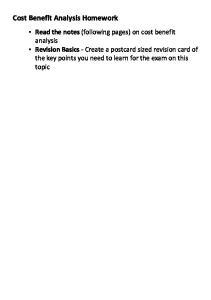 Cost Benefit Analysis Homework