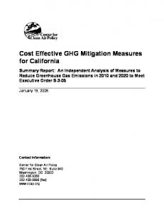 Cost Effective GHG Mitigation Measures for California