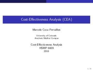 Cost-Effectiveness Analysis (CEA)