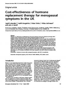 Cost-effectiveness of hormone replacement therapy for menopausal symptoms in the UK