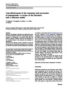 Cost-effectiveness of the treatment and prevention of osteoporosis a review of the literature and a reference model
