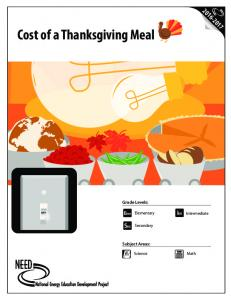 Cost of a Thanksgiving Meal