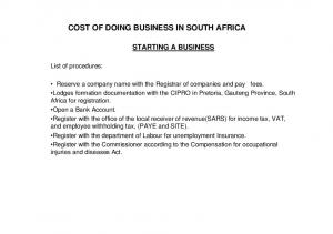 COST OF DOING BUSINESS IN SOUTH AFRICA