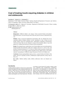 Cost of treating Insulin-requiring diabetes in children and adolescents