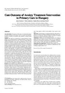 Cost-Outcome of Anxiety Treatment Intervention in Primary Care in Hungary