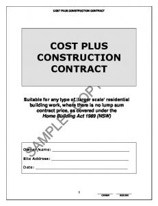COST PLUS CONSTRUCTION CONTRACT