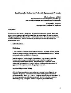 Cost Transfer Policy for Federally Sponsored Projects