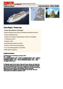 Costa Magica - Westeuropa