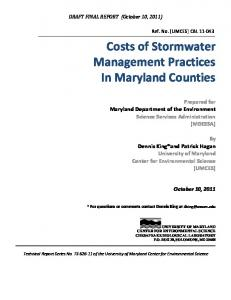 Costs of Stormwater Management Practices In Maryland Counties
