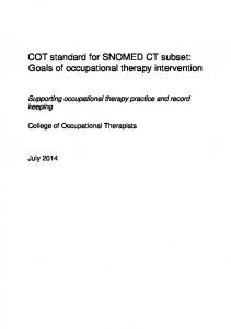 COT standard for SNOMED CT subset: Goals of occupational therapy intervention