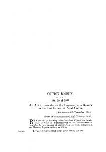 COTTON BOUNTY. on the Production of Seed Cotton. No. 39 of An Act to provide for the Payment of a Bounty. [Assented to 5th December, 1951