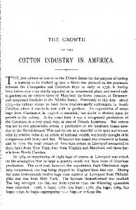 COTTON INDUSTRY IN AMERICA