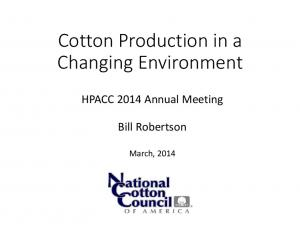 Cotton Production in a Changing Environment