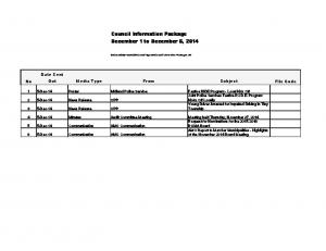 Council Information Package December 1 to December 5, 2014