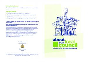 council local about your working for your community How to find out more Your local council: