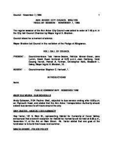Council - November 7, ANN ARBOR CITY COUNCIL MINUTES REGULAR SESSION - NOVEMBER 7, 1996