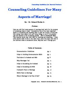 Counseling Guidelines For Many. Aspects of Marriage!