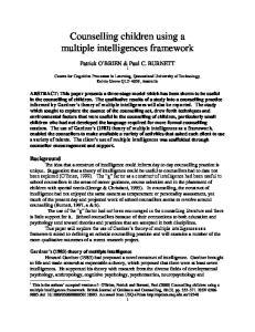 Counselling children using a multiple intelligences framework