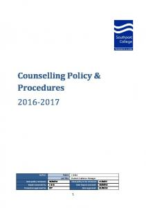 Counselling Policy & Procedures