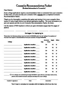 Counselor Recommendation Packet (Student Information to Counselor)