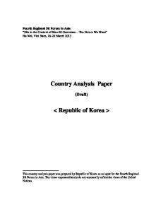 Country Analysis Paper. < Republic of Korea >