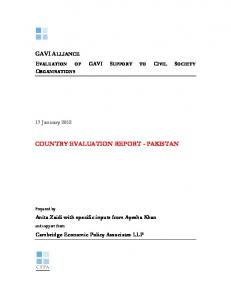 COUNTRY EVALUATION REPORT - PAKISTAN