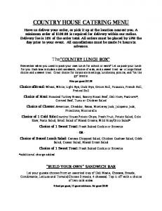 COUNTRY HOUSE CATERING MENU