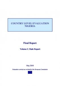 COUNTRY LEVEL EVALUATION NIGERIA. Final Report