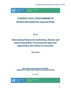 COUNTRY LEVEL PROGRAMMING IN NUTRITION SENSITIVE AGRICULTURE