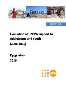 COUNTRY NOTE. Evaluation of UNFPA Support to Adolescents and Youth ( )