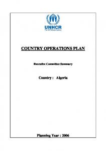 COUNTRY OPERATIONS PLAN