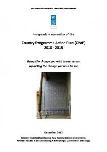 Country Programme Action Plan (CPAP)
