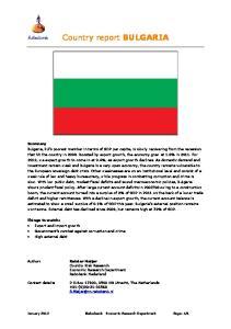 Country report BULGARIA