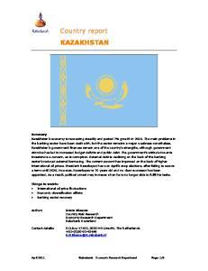Country report KAZAKHSTAN