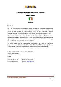 Country-Specific Legislation and Practice. Ireland