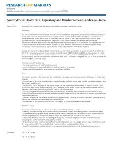 CountryFocus: Healthcare, Regulatory and Reimbursement Landscape - India