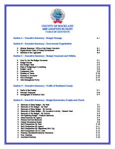 COUNTY OF ROCKLAND 2009 ADOPTED BUDGET TABLE OF CONTENTS