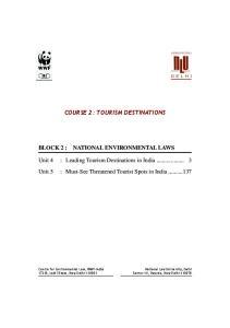 COURSE 2: TOURISM DESTINATIONS